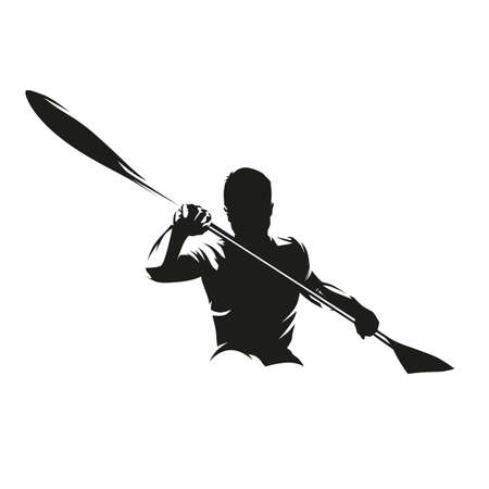 Canoe sprint, kayak logo. Isolated vector silhouette. Ink drawing, front view