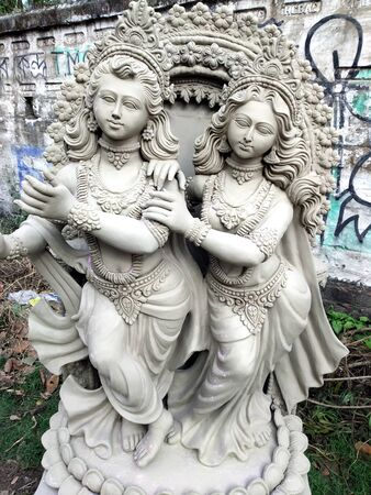 It is that the idol of Radha krishna is not yet made.