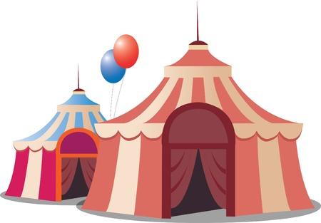 様式化されたサーカスのテントは、白い背景で隔離