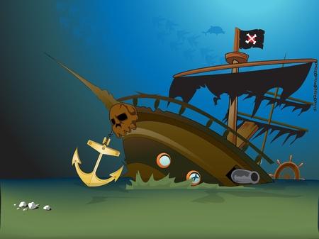 pirate ship sunk underwater