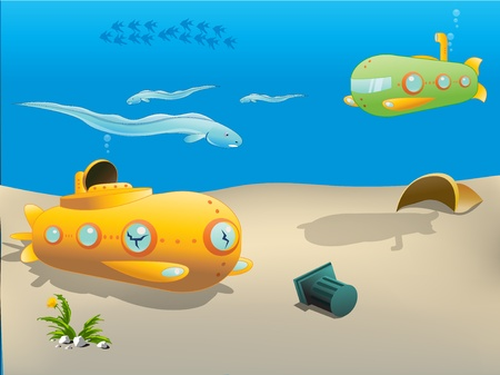 cartoon submarine: submarine underwater Illustration