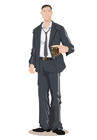 guy standing: male executive holding a cup of coffee  Illustration