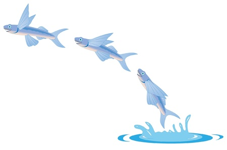 fish tank: cartoon illustration of a flying fish Illustration
