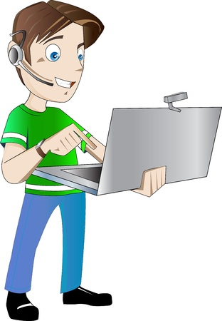 Operator working in a call center Vector