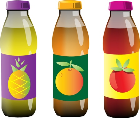 botellas vacias: Botellas de jugo Vectores