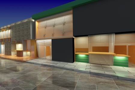 3D Architecture exterior of shops Stock Photo