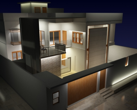 3d night view of a residential exterior architecture
