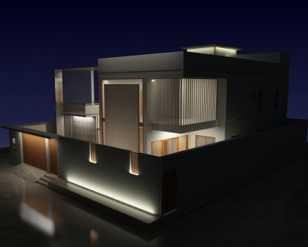 house facades: 3d night view of a residential exterior architecture