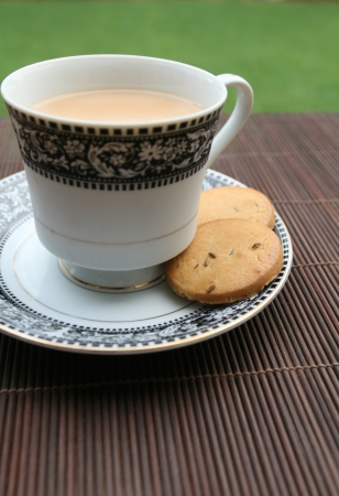 Morning tea outdoor with biscuits Stock Photo