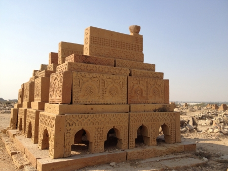 Artistic grave of the king of the 15th century Chaukandi tombs Sindh Pakistan Stock Photo