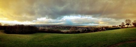 Panoramic landscape with rainbow  Stock Photo