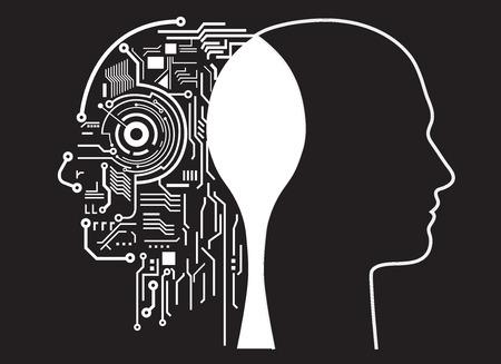 robot: fusión de la inteligencia humana Vectores