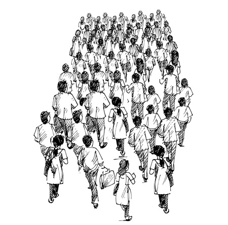 waiting in line: people standing in queue Illustration