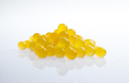 Orange tapioca pearls