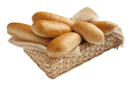 canasta de panes: Recién horneados hot dog Foto de archivo