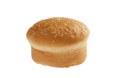 Scrumptious baked bun isolated on white  Stock Photo
