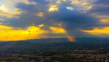 Beautiful landscape sun beams from sky