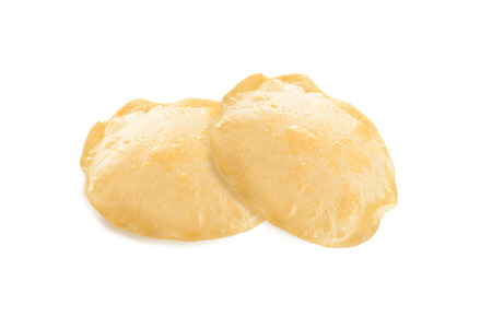 pani: Puri flatbread isoltaed on a white background