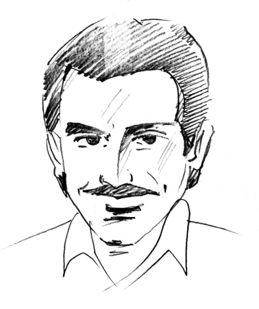 Retro style line art sketch of a mature man with moustache