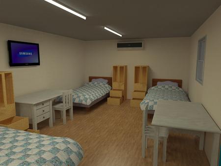 Sharing bedroom cabin in 3D Stock Photo
