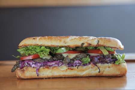 meaty: Delicious meaty beef and vegetable sandwich