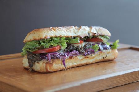 meaty: Steak meaty sandwich filled with vegetables