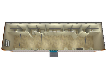 Portable cabin 3D aerial view of inside