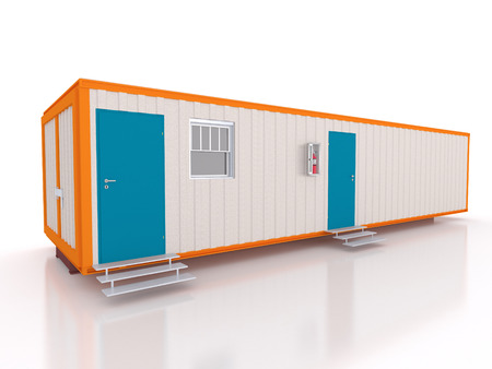 portable: 3D view of a portable cabin with window Stock Photo