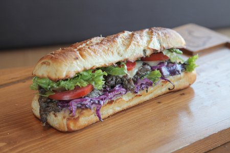 Delicious meaty beef and vegetable sandwich