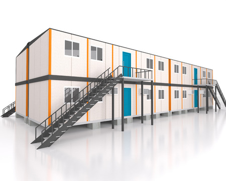 prefabricated: Double story 3d view portable cabin container