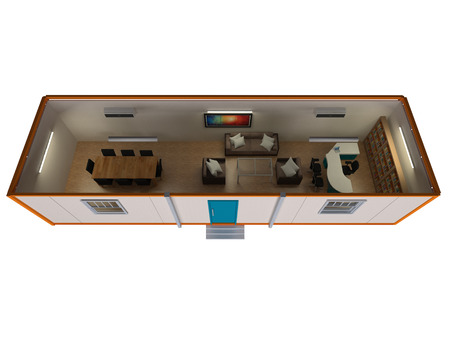 aerial view office portable cabin