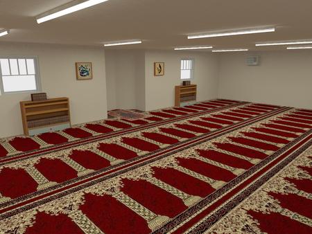 Interior mosque in 3D Stock Photo