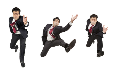 Man in suit jumping running in various angles Stock Photo