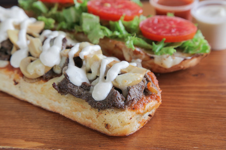 Closeup of sandwich with mayonnaise and mushroom