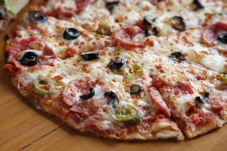 Closeup Pepperoni Flat bread thin crust pizza