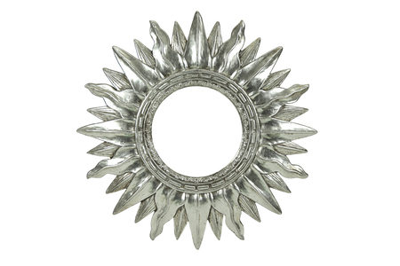 Metallic silver mirror sun burst design isolated on a white background