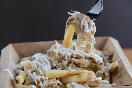 Poutine fries with meat and cheese