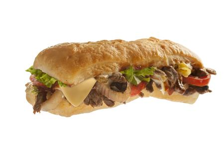 肉と野菜とサブ サンドイッチ用の大きめのサンドイッチ