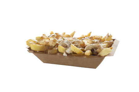 Poutine with caramelized onions and cheese