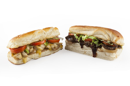 Two meal chicken and beef sandwiches