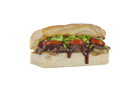 Philly beef steak hoagie sub sandwich Stock Photo