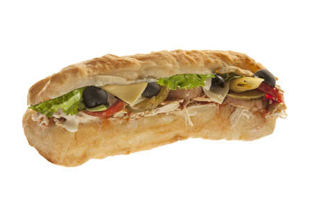 Delicious sub hoagie sandwich with meat and veggies Stock Photo