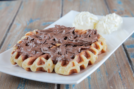 nutella: Nutella waffle with whipped cream