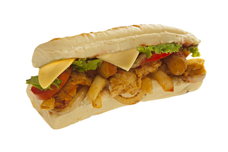 Mighty sub sandwich hoagie with mozarella sticks french fries lots of meat and veggies Stock Photo