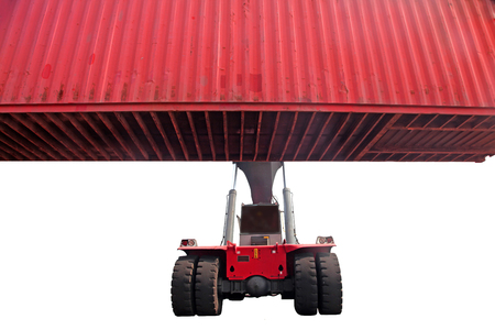 Forklifter moving container Stock Photo
