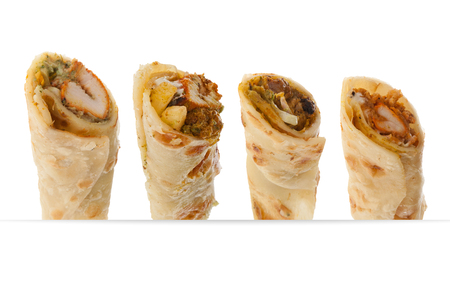Paratha rolls of different flavours Stock Photo