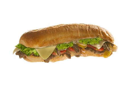 Sub sandwich hoagie isolated on white background