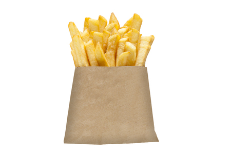 French fries in paper packaging Stock Photo