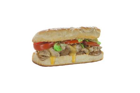 Grilled chicken hoagie sub sandwich