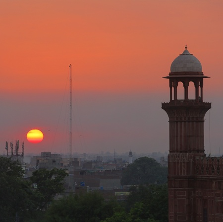 Minaret sunset city lahore